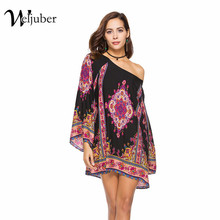 Weljuber 2018 Women's Bohemia Dress Summer Loose Beach Dresses Sexy Baroque style Dress Women Boho Hot Sell Ladies dress(China)
