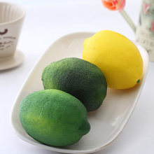 Simulation Lemons Decorative Plastic Solid Artificial Fruit Yellow Green Cabinet Home Decor Party(China)