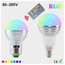 New LED Bulb E14 E27 RGB AC 85-265V 3W Real Power Magical RGB Color Change With IR Remote for Home Garden Lighting