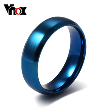 Vnox Blue Ring 316l stainless steel Party Jewelry For Men Women Matte 6mm Size 4 to 15