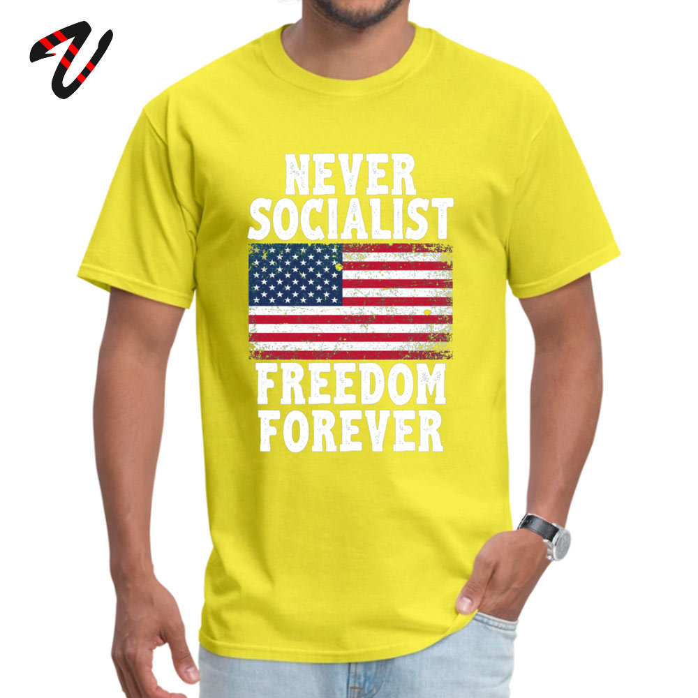 Casual Custom Round Neck T Shirt Labor Day T Shirt Short Sleeve for Men 2019 Hot Sale 100% Cotton Family T-Shirt Never Socialist Freedom Forever Proud Republic yellow