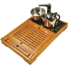 Tea bamboo tray Induction Cooker Household drawer type wooden storage tea table set solid wood water drainage(China)