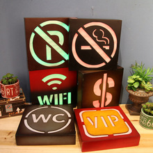 No Smoking LED Neon Signs WC Free Wifi Light Plaque For Restaurant Bar Cafe Wall decoration VIP Symbol Illuminated Signboard(China)