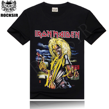 ROCKSIR Hot sale skulls 3d printed men tshirts cotton black T-shirt males fashion iron maiden tops tee rock casual street shirts