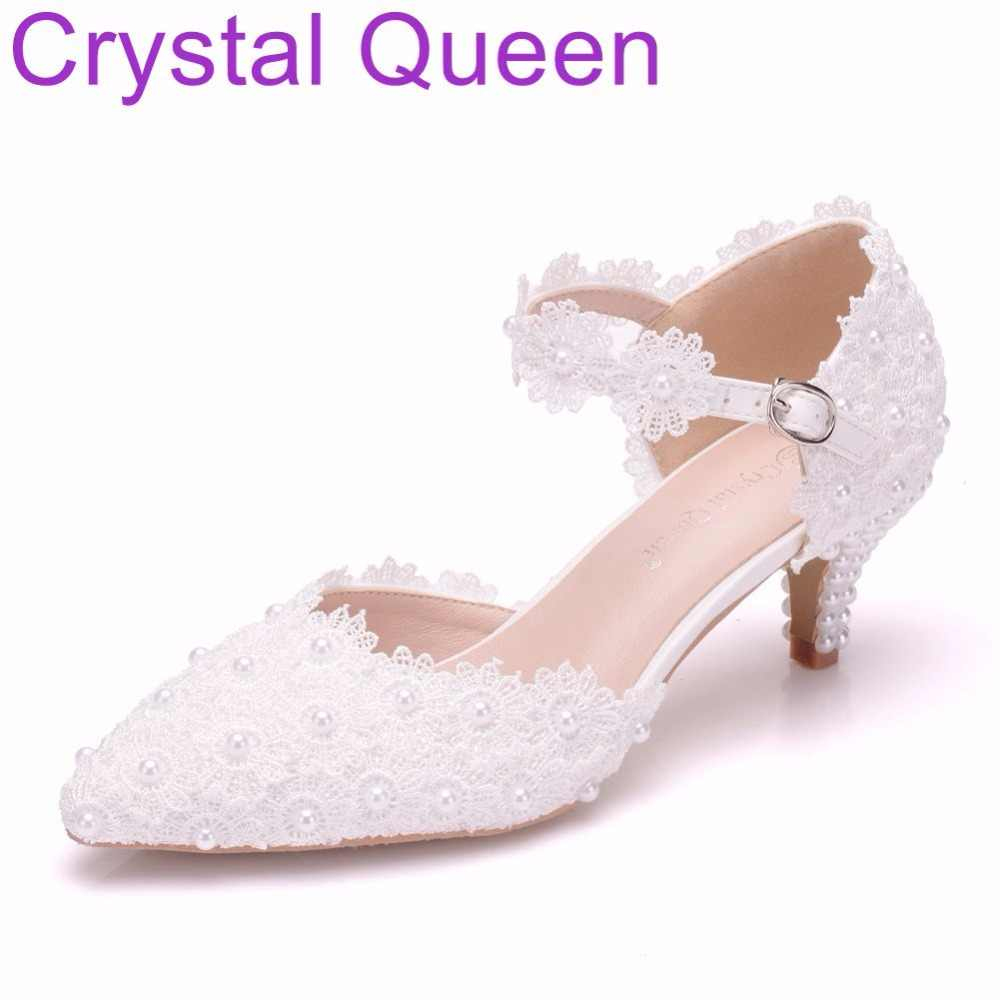 Crystal Queen 5cm Mary Jane Shoes Thin Heels Pointed Toe Small Heel Sandals  White lace Wedding 3d38391d15bd