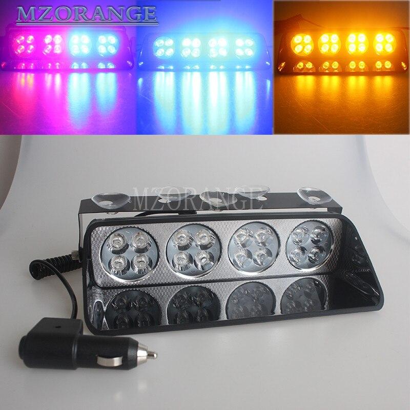 48W Police Lights 16 LED Red/Blue Car Sucker Strobe Flash Warning Light Dash Emergency Flashing Lights 12V<br>