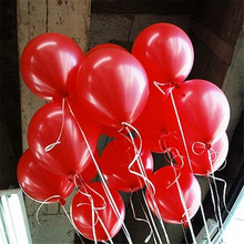 Hot Sale 10pcs/lot 10inch 1.5g Red Latex Balloon Thickening Pearl Celebration Party Wedding Birthday Decoration Helium Air Balls(China)