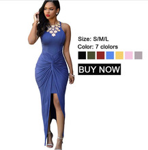 New 2017 Summer Hot Selling Style Women Floor Length Long Dresses Sexy Tank 7 Colors Knotted Slit Dress LC60658 Vestido De Festa