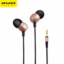 Original AWEI ES Q8 Super Deep Nylon Wired Earphone In-ear Metal Head Earphones for Phone MP3/MP4 Players 3.5mm Jack Headset