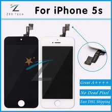 10PCS/LOT Alibaba China 100% No Dead Pixel for iPhone 5S LCD Display With Touch Screen Digitizer Assembly Replacement via DHL(China)