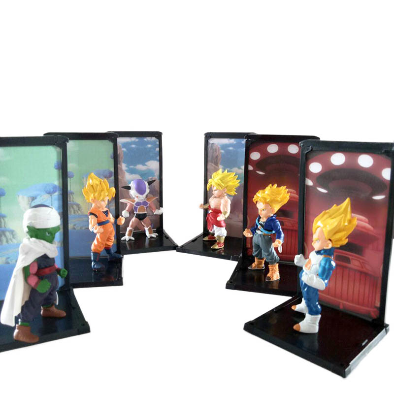 6PCS/SET Dragonball Z action figures doll 10cm vegeta PVC figurine toys Q edition Brolly Flisa anime model toy Hot<br>