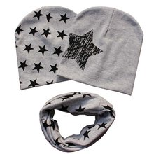 Star Pattern Cute Kids Baby Soft Warm 2 Caps + 1 Scarf Set Cotton Beanie O Ring Scarves Casquette Neckerchief