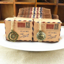 50pcs Stamp Design Kraft Paper Candy Boxes Chocolate Packaging Box Gift Box wedding/Party Favors Wedding Decoration(China)