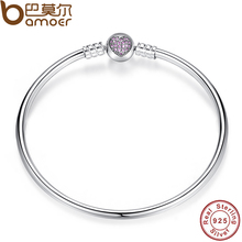 BAMOER Authentic 100% 925 Sterling Silver Snake Chain Heart Bangle & Bracelet Luxury Jewelry PAS904