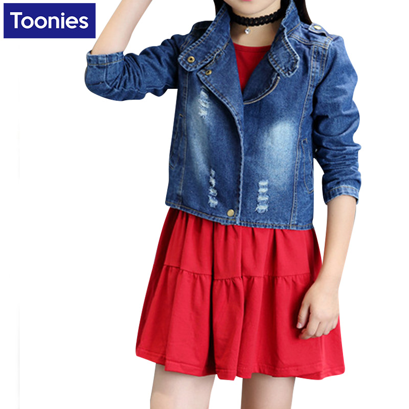 Girls Fashion Dress Suit 2017 New Spring Autumn Clothing Set Denim Coat + Red Dress 2Pcs Casual Suit High Quality Kids Costume<br><br>Aliexpress