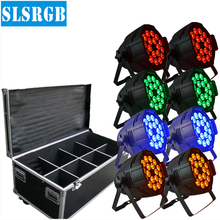 8pcs/lot&flight case 18*12W RGBA 4-in-1 LED Par Can 8CH DMX Stage Lighting Party Disco dj RGBA led par Disco Light Night club(China)