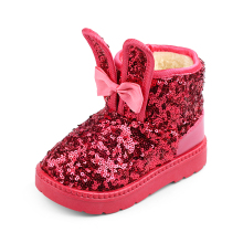 Kids Boots 2017 Winter Fashion Sequin Bling Bling Children Snow Boots Girls Shoes Princess Bow Bunny Baby Warm Plush Girls Boots(China)