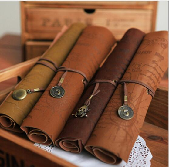 2019 Latest Design New Hot Vintage Treasure Map Pencil Case Roll Faux Leather Pen Bag Makeup Brush Pouch Sale Stationery Holder Stationery Holder
