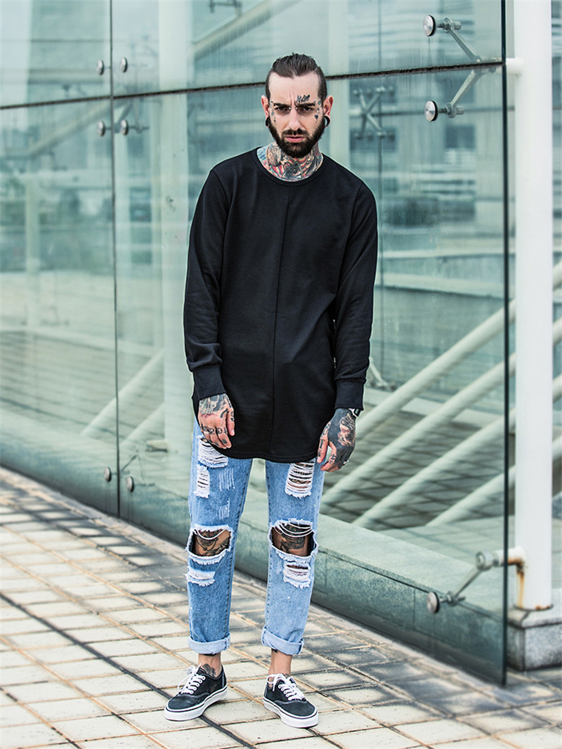 Cross Printed Hip Hop Sweatshirt Men 17Spring Streetwear Curved Hem Side Zipper Plain Mens Sweatshirts and Hoodies Man Clothes 3