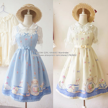 Super Cute Girls Tea Party Cup Rabbit Bunny Bows Printing JSK Lolita Dress Sleeveless Lace Trim One Piece 5 Colors(China)
