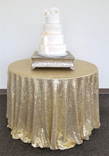 132 Inches Round Gold Sequin Tablecloth Round Wedding Linens Table Cloths for Wedding Decoration