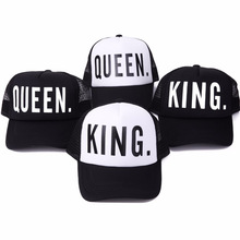 2016 new KING QUEEN Print Trucker Caps Men Women Polyester Mesh Summer Flat Visor Snapback Hat White Black Couple Gifts