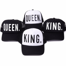 2017 new KING QUEEN Print Trucker Caps Men Women Polyester Mesh Summer Flat Visor Snapback Hat White Black Couple Gifts(China)