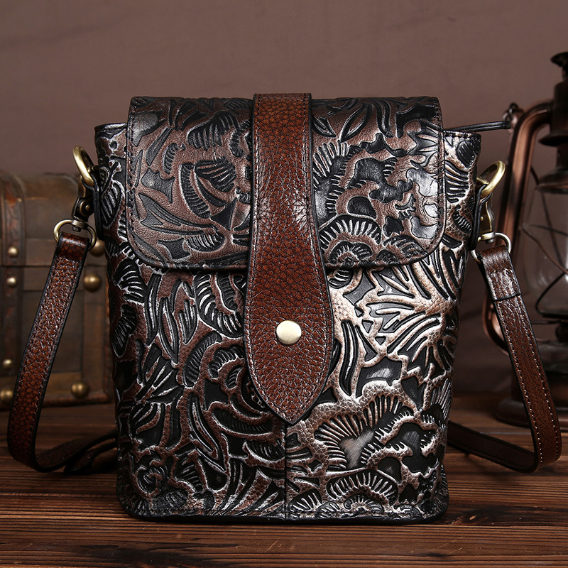 YISHEN Casual Genuine Leather Women Shoulder Bags Floral Embossed Female Messenger Bags Fashion Retro Crossbody Bags LS9506<br>