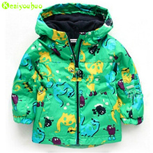 KEAIYOUHOU 2017 Spring Girls Jacket For Boys Jacket Kids Warm Outerwear Coat Boys Windbreaker Dinosaur Raincoat Children Clothes