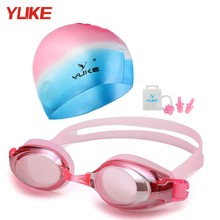 Waterproof silicone Adjustable swim Eyewear Anti-fog Swim Goggles Anti-UV Glass Men's Women's glasses(China)