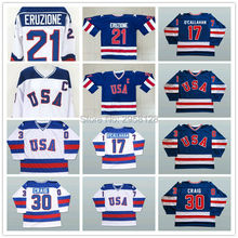 Ice Hockey Jersey USA 30 Jim Craig 17 Jack O'Callahan 21 Mike Eruzione STEENBERGE 1980 Miracle On Ice Team sewing SIZE:S-3XL