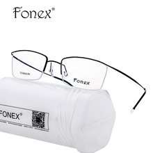 FONEX No Screw Weld Titanium Glasses Frame Men Prescription Eyeglasses Women Half Optical Frame High Quality Eyewear Silhouett(China)