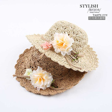 2016 Wholesale and Retail Fashion Baby Girls Wide Large Brim Floppy Summer Beach Sun Straw Hat Cap with flower Free Shipping(China)