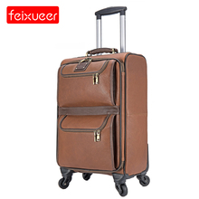 First Layer Cowhide Genuine Leather Suitcase 16''/20''Carry-on Business Travel Luggage Brown Spinner Suitcase with Multi Pockets