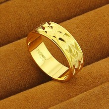 New Arrival!! Fashion 24K GP Gold Color Mens&Women Jewelry Ring Yellow Gold Golden Finger Ring Free Shipping YHDR014