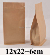 100PCS 12*22+6cm Flat bottom standup ziplock kraft bag  4.7''*8.7'' side gusset zipper kraft bag coffee tea nuts kraft paper bag