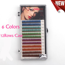 Rainbow Color False Eyelash Extensions C/D Curl 10-12mm Synthetic Fiber Silk Mink Lashes Eyelash Extension 1 Tray