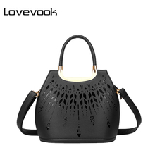 LOVEVOOK Brand simple women small handbag hollow out design saffiano tote bag high quality ladies shoulder messenger bags black