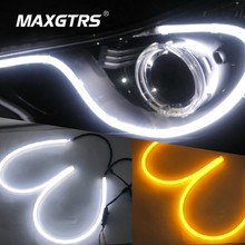 2X 85cm 12W White+Yellow Flexible Headlight Daytime Lamp Switchback Strip Angel Eye DRL Decorative Light With Turn Signal