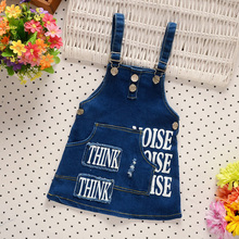 2017 summer girls wear cute cartoon printed children's clothing / high quality / Jeans straps dress / children's party dress