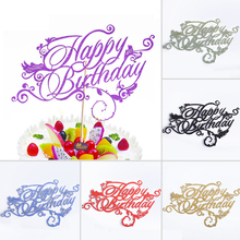 Artistic Fonts Happy Birthday Cupcake Cake Topper Cake Flags Family Friends Birthday Party Baking Creative Decoration Supplies(China)