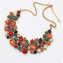 ZOSHI Women Statement Crystal Choker Necklace Colorful Synthetic Gemstone Jewelry Wedding Short Chain Collar Necklaces & Pendant(China)