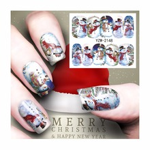 FWC Watermark Nail Stickers Christmas Nail Art Water Transfer Sticker Decals Manicure Wraps Decor 2148