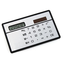 YOC Hot New White Solar Powered Calculator credit card sized Slimline travel Outdoor(China)