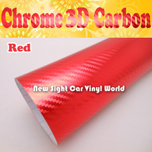 High Quality Red Chrome Carbon Vinyl For Vehicle Wraps Air Bubble Free Size:1.52*30M/Roll(China)