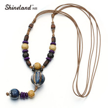 Shineland Boho Ethnic Jewelry Women's Long Hand Made Ceramic Beads Wood Pendant Sweater Chain All-match Decorative Maxi Necklace