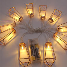 2017 New 10/20 Lamp Iron Stent Battery Lamp Led Holiday Decoration Lantern String Metal Industry String Lights(China)
