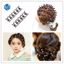 M MISM Sweet Girls Hairpins 1lot=12 Hair Clips Kids Butterfly DIY Barrettes Shining Rhinestone Hair Claw Comb For Girls Birthday
