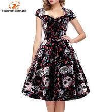 Elegant Skull Print Dress Women Vintage 50s 60s Square Collar Wrapped Chest Plus Size 4XL Swing Rockabilly Pin Up Retro Dresses(China)