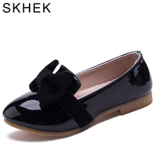 SKHEK Spring fall Girls Shoes Fashion Kids dancing shoe For children Bow Tie Flat With Shoes Girl Sneaker Rubber Outsole(China)